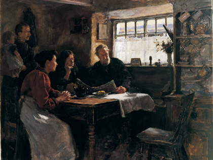 Stanhope forbes 1901  Thw 22nd Jan Reading the News of Queen Victoria.s death in a Cornish Cottage