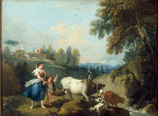 F.Zuccarelli, Landschaft mit Viehhirtin - F.Zuccarelli /Landscape w.Herdswoman/C18 - F. Zuccarelli / Paysage avec vachere