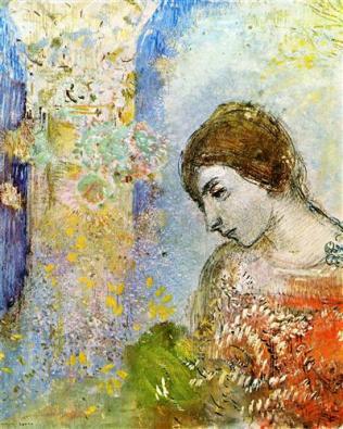 Odilon Redon woman-with-pillar-of-flowers-1903