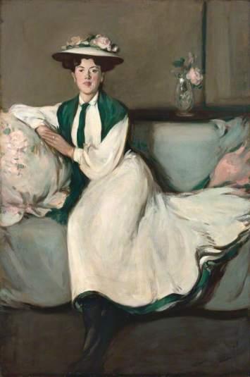 Fergusson, John Duncan; The White Dress: Portrait of Jean (Jean Maconochie); Perth & Kinross Council; http://www.artuk.org/artworks/the-white-dress-portrait-of-jean-jean-maconochie-129138