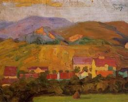 village-with-mountains-1907 Schiele